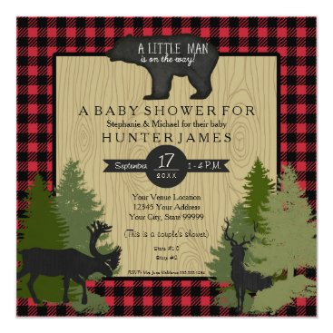 Toddler & Baby themed Bear Woodland Forest Lumberjack Plaid Baby Shower Card