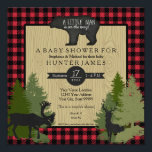 "Bear Woodland Forest Lumberjack Plaid Baby Shower Invitation<br><div class=""desc"">A grizzly bear chalkboard silhouette acts as a sign with the handwritten text, &quot;A LITTLE MAN is on the way!&quot; and your baby shower invitation in a typography format. The perfect baby shower invitation for your favorite woodsman, hunter, lumberjack or outdoorsman who is having a son! With a buffalo plaid...</div>"