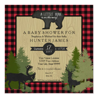 Bear Woodland Forest Lumberjack Plaid Baby Shower Invitation