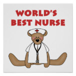 Bear World's Best Nurse T-shirts and Gifts Poster