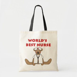 Bear World's Best Nurse T-shirts and Gifts Tote Bag
