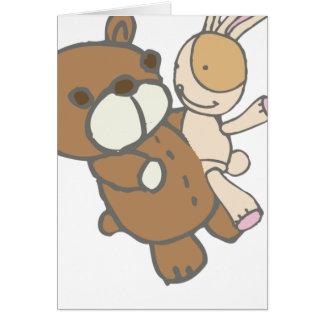 Bear Wtih Bunny Dancing Cute Set Card
