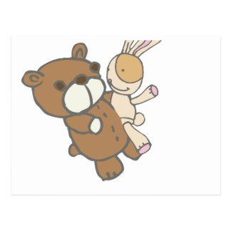 Bear Wtih Bunny Dancing Cute Set Postcard