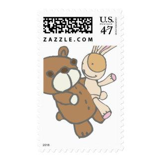 Bear Wtih Bunny Dancing Cute Set Stamp
