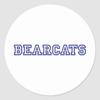 Bearcats square logo in blue classic round sticker