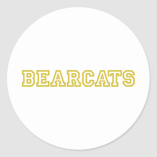 Bearcats square logo in gold classic round sticker