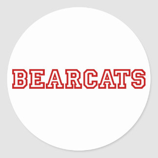 Bearcats square logo in red classic round sticker