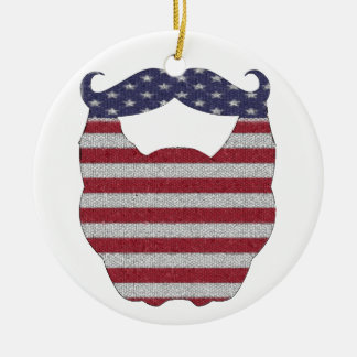 Beard And Mustache American Flag Double-Sided Ceramic Round Christmas Ornament