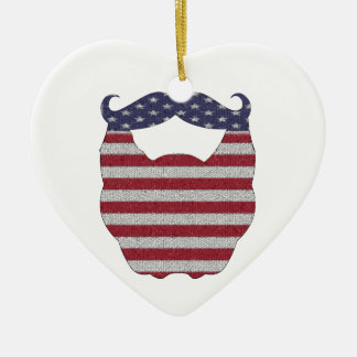 Beard And Mustache American Flag Double-Sided Heart Ceramic Christmas Ornament