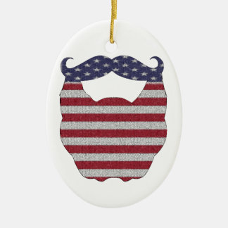 Beard And Mustache American Flag Double-Sided Oval Ceramic Christmas Ornament