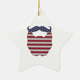 Beard And Mustache American Flag Double-Sided Star Ceramic Christmas Ornament