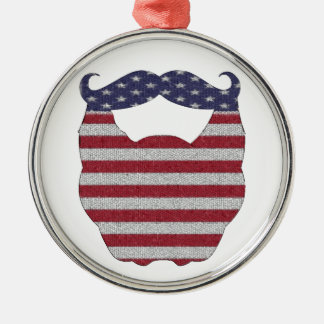 Beard And Mustache American Flag Round Metal Christmas Ornament