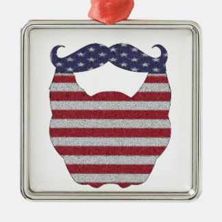 Beard And Mustache American Flag Square Metal Christmas Ornament
