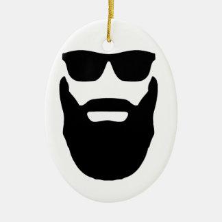 Beard and Sunglasses Ceramic Ornament