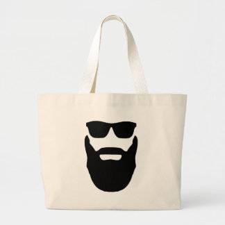 Beard and Sunglasses Large Tote Bag