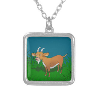Bearded brown goat silver plated necklace