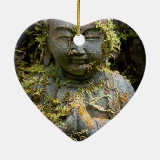 Bearded Buddha Statue Garden Nature Photography Double-Sided Heart Ceramic Christmas Ornament
