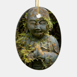 Bearded Buddha Statue Garden Nature Photography Double-Sided Oval Ceramic Christmas Ornament