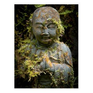 Bearded Buddha Statue Garden Nature Photography Postcard