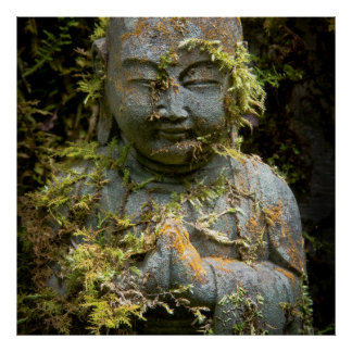Bearded Buddha Statue Garden Nature Photography Poster