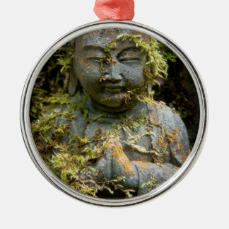 Bearded Buddha Statue Garden Nature Photography Round Metal Christmas Ornament