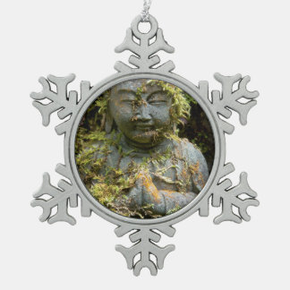 Bearded Buddha Statue Garden Nature Photography Snowflake Pewter Christmas Ornament