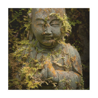 Bearded Buddha Statue Garden Nature Photography Wood Print