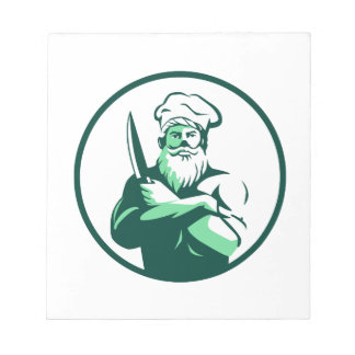 Bearded Chef Arms Crossed Knife Circle Retro Notepad