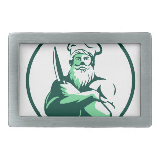 Bearded Chef Arms Crossed Knife Circle Retro Rectangular Belt Buckle
