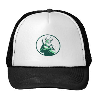 Bearded Chef Arms Crossed Knife Circle Retro Trucker Hat