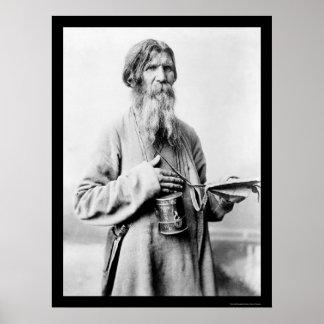 Bearded Church Beggar in Russia 1880 Poster