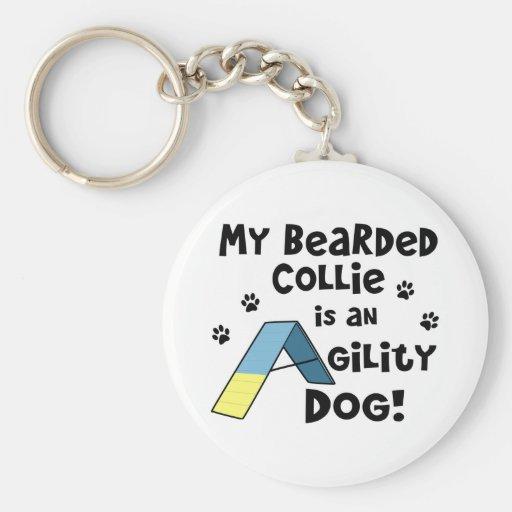 Bearded Collie Agility Dog Keychain