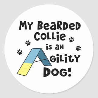 Bearded Collie Agility Dog Round Sticker