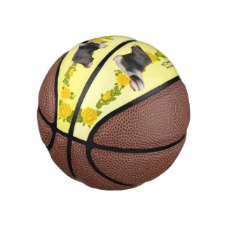 Bearded Collie and Yellow Roses (mini) Basketball