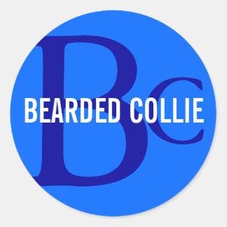 Bearded Collie Breed Monogram Design Round Stickers