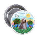 Bearded Collie (brown-white) Pinback Button