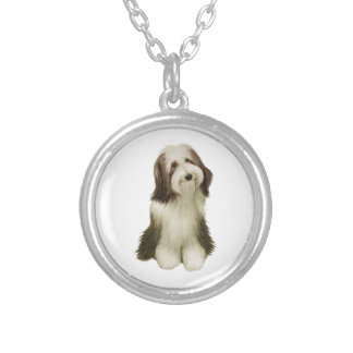 Bearded Collie (C) Silver Plated Necklace