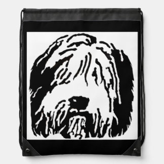 Bearded Collie Cartoon Drawstring Backpack Backpacks