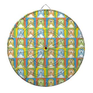 Bearded Collie Cartoon Pop-Art Dart Boards