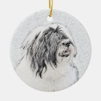 Bearded Collie Ceramic Ornament