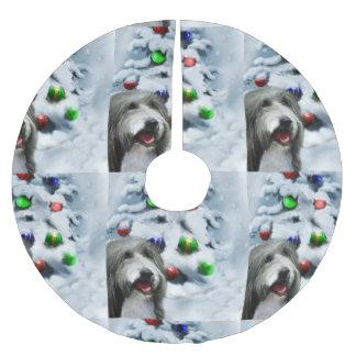 Bearded Collie Christmas Brushed Polyester Tree Skirt