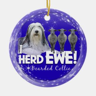 Bearded Collie Christmas Ornament - 'i HERD EWE'