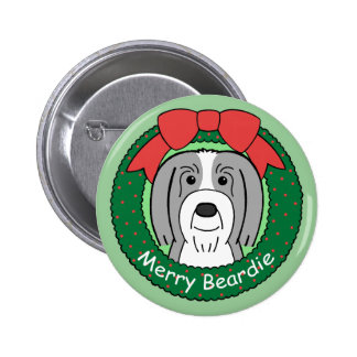Bearded Collie Christmas Pinback Button