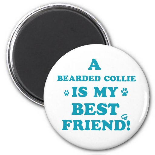 Bearded collie designs 2 inch round magnet