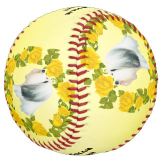 Bearded Collie Dogs Rock!! and Yellow Roses Softball