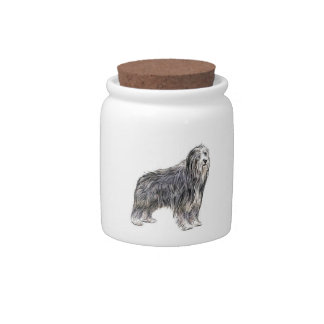 Bearded Collie Drawing Candy Jar