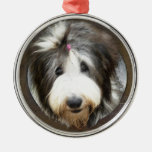 Bearded collie face in old wooden frame round metal christmas ornament