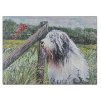 Bearded Collie Fine Art painting Cutting Boards
