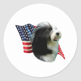 Bearded Collie Flag Stickers