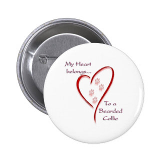 Bearded Collie Heart Belongs Pinback Button